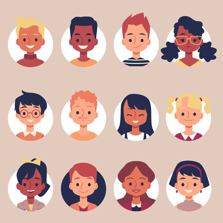 Ilustración de Flat cartoon children portrait icon set inside round frames - cheerful elementary school kids smiling and laughing. Isolated vector illustration collection - Imagen libre de derechos