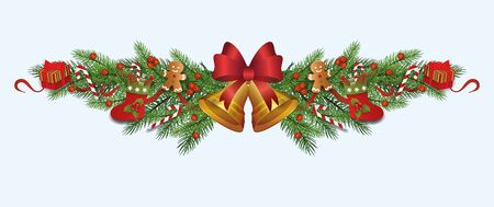 Illustration pour Ornate Christmas decoration border made of fir tree branches with gold bell, red berries, gift stockings and boxes - realistic holiday ornament divider, isolated vector illustration. - image libre de droit