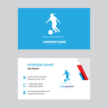 Illustration pour soccer player business card design template, Visiting for your company, Modern horizontal identity Card Vector - image libre de droit