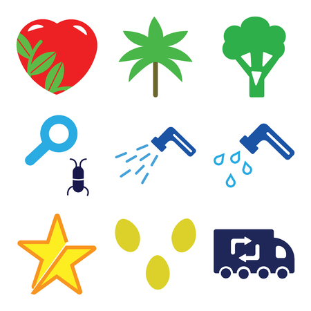 Ilustración de Set Of 9 simple editable icons such as Recycling Truck, Two Eggs, Star, Water Tap, Waste Pipe, Loupe and Bug, Broccoli, Palm Trees, Ecologic Love, can be used for mobile, web - Imagen libre de derechos