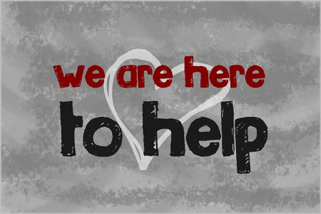 Photo pour We are here to help text written over grey background - image libre de droit