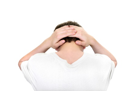 young man hands behind his head isolated on the white background