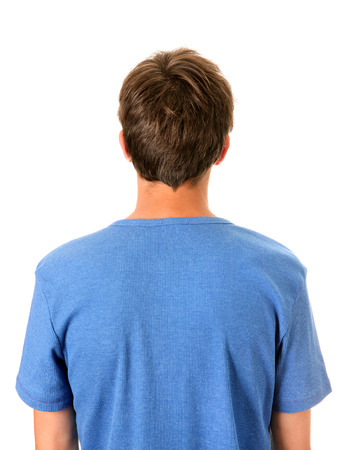 Photo pour Rear View of the Man Isolated on the White Background - image libre de droit