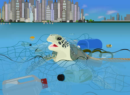 Illustration pour Turtle in the ocean with trash vector icon on a blue background. Environment pollution illustration on blue. Garbage in the sea realistic style design, designed for web and app. Eps 10. - image libre de droit