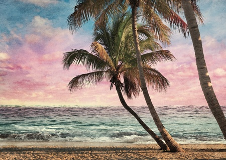 Photo for Grunge Image Of Tropical Beach At Sunset - Royalty Free Image
