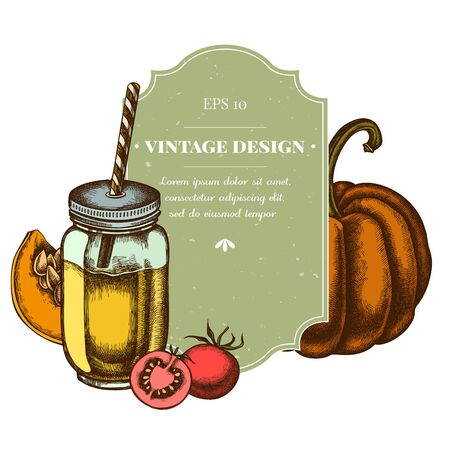 Illustration for Badge design with colored cherry tomatoes, pumpkin, smothie jars stock illustration - Royalty Free Image