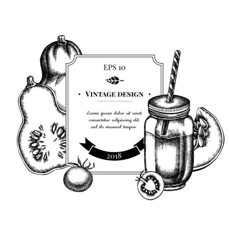 Illustration for Badge design with black and white cherry tomatoes, pumpkin, smothie jars - Royalty Free Image