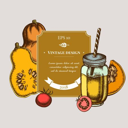 Illustration for Badge design with colored cherry tomatoes, pumpkin, smothie jars - Royalty Free Image