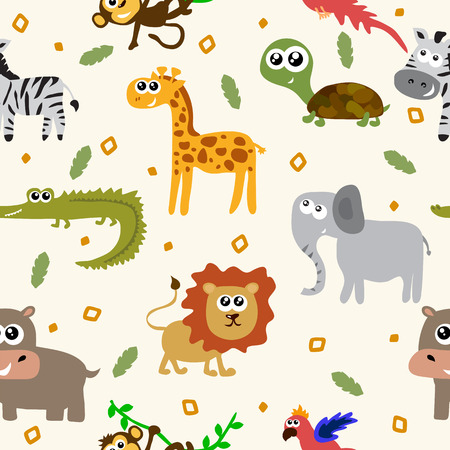 Illustration pour African animals seamless pattern. Cartoon childish animals. Vector illustration - image libre de droit