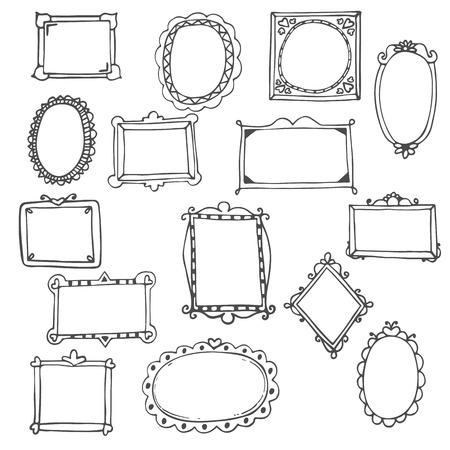 Illustration pour Set of hand drawn frames. Vector illustration - image libre de droit