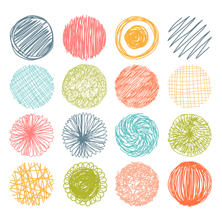 Illustration pour Set of hand drawn scribble circles. Vector design elements. Vector illustration - image libre de droit