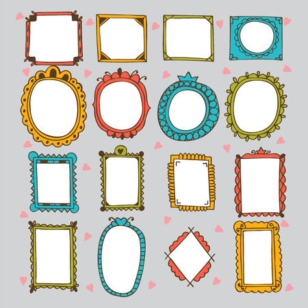 Illustration pour Sketchy ornamental frames and borders. Doodles frame set. Hand drawn vector design elements. Vector illustration - image libre de droit