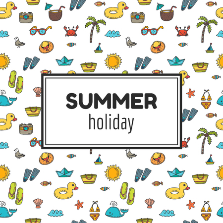 Ilustración de Summer holiday. Summer tropical vacation background. Cute hand drawn greeting card. Vector illustration - Imagen libre de derechos