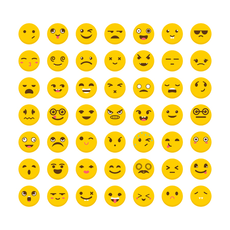 Set of emoticons. Big collection with different expressions. Flat design. Cute emoji icons. Vector illustration