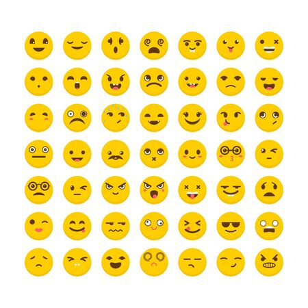 Set of emoticons. Cute emoji icons. Big collection with different expressions. Avatars. Flat design. Vector illustration