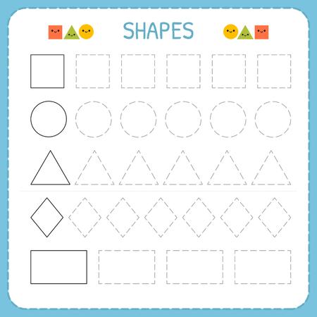 Ilustración de Learn shapes and geometric figures. Preschool or kindergarten worksheet for practicing motor skills. Tracing dashed lines. Vector illustration - Imagen libre de derechos