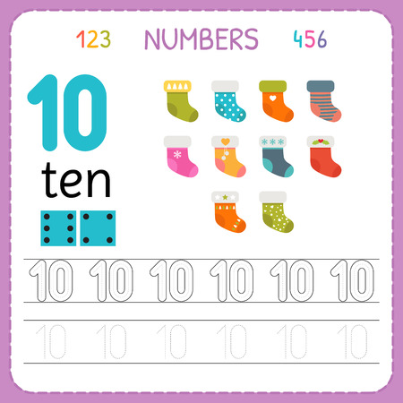 Ilustración de Numbers tracing worksheet for preschool and kindergarten. Writing number Ten. Exercises for kids. Mathematics games. Vector illustration - Imagen libre de derechos