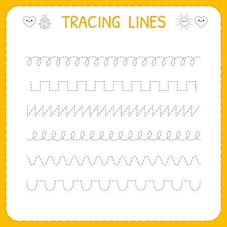 Ilustración de Trace line worksheet for kids. Basic writing. Working pages for children. Preschool or kindergarten worksheet. Trace the pattern. Vector illustration - Imagen libre de derechos
