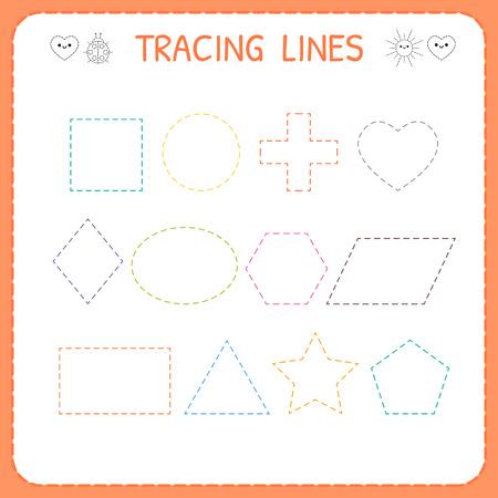 Illustration for Trace line worksheet for kids. Working pages for children. Preschool or kindergarten worksheet. Trace the shapes. Vector illustration - Royalty Free Image
