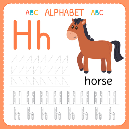 Ilustración de Alphabet tracing worksheet for preschool and kindergarten. Writing practice letter H. Exercises for kids. Vector illustration. - Imagen libre de derechos