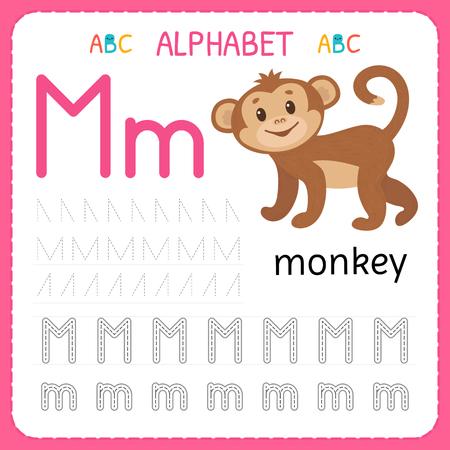 Ilustración de Alphabet tracing worksheet for preschool and kindergarten. Writing practice letter M. Exercises for kids. Vector illustration. - Imagen libre de derechos