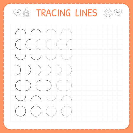 Illustration pour Tracing lines. Worksheet for kids. Basic writing. Working pages for children. Preschool or kindergarten worksheets. Trace the pattern. Vector illustration - image libre de droit