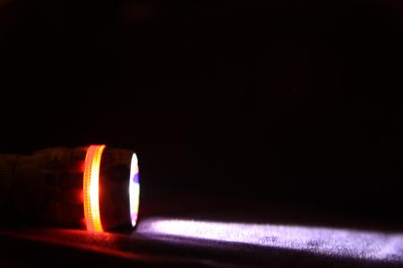 Foto de Light Beam from Electric Flashlight - Imagen libre de derechos