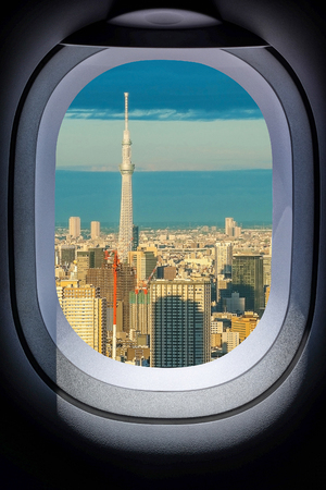 Photo for Beautiful Japan Tokyo cityscape from aircraft window - Royalty Free Image