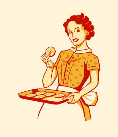 Photo pour Retro housewife with fresh baked cookies - image libre de droit