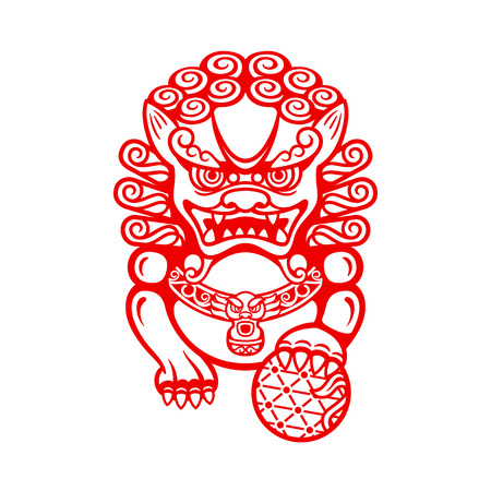 Illustration pour Mighty Chinese entrance guardian Foo dog or Shi shi - image libre de droit