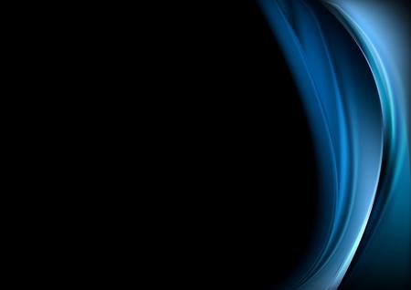 Ilustración de Blue waves on black background. Vector design - Imagen libre de derechos
