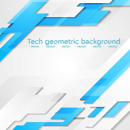 Illustration pour Blue grey hi-tech geometric abstract bright background. Vector card design - image libre de droit