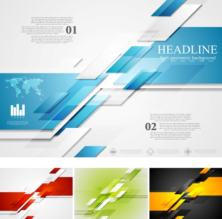 Illustration for Abstract bright corporate tech background. Four colors, vector card design - Royalty Free Image