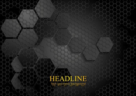 Illustration for Tech geometric black background with hexagon texture. Vector design eps 10 - Royalty Free Image