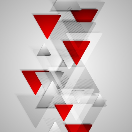 Foto de Corporate geometric background with grey and red triangles. Vector design illustration - Imagen libre de derechos