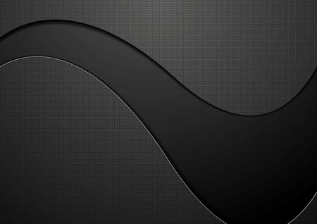 Photo pour Black concept wavy background. Vector dark graphic design - image libre de droit
