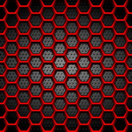 Illustration pour Red hexagons texture on dark perforated background. Vector tech design - image libre de droit