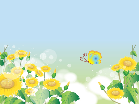 Illustration pour Floral summer or spring landscape, meadow with flowers, blue sky and butterflies - image libre de droit