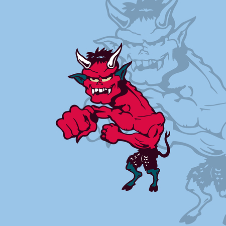 Illustrazione per Crazy cartoon devil. cartoon character Vector Illustration. - Immagini Royalty Free