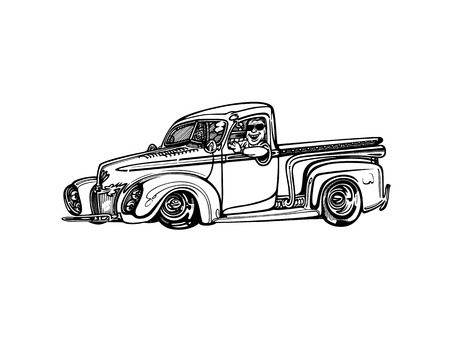 Illustration pour Vector retro hotrod car clipart cartoon Illustration. - image libre de droit
