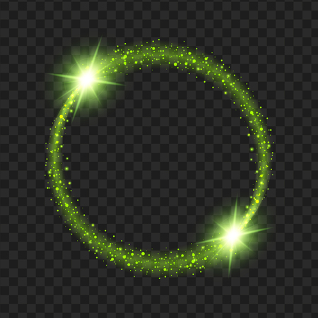 Illustration pour round Green glow light effect stars bursts with sparkles isolated on black background. For illustration template art design, Christmas celebrate. - image libre de droit