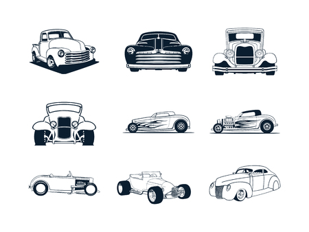 Illustration pour Classic cars collection - image libre de droit