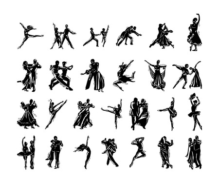 Ilustración de dancer people silhouette collection. Vector Illustration. - Imagen libre de derechos