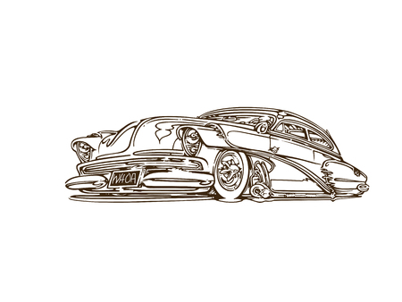 Illustration pour Vintage muscle cars inspired cartoon sketch - image libre de droit