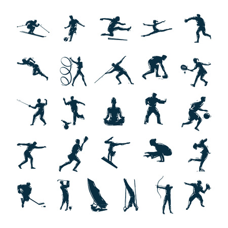 Foto per Set of vector silhouettes drawn of people in sport Vector Illustration - Immagine Royalty Free