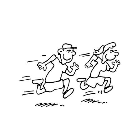 Ilustración de running kids cartoon illustration - Imagen libre de derechos