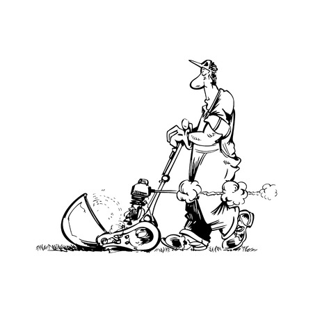 Illustration pour man gardener cartoon illustration vector - image libre de droit