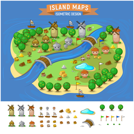 Illustration for Vector set. Summer vacation. Tropical islands. Time to travel -Island Map With Elements Set - Royalty Free Image