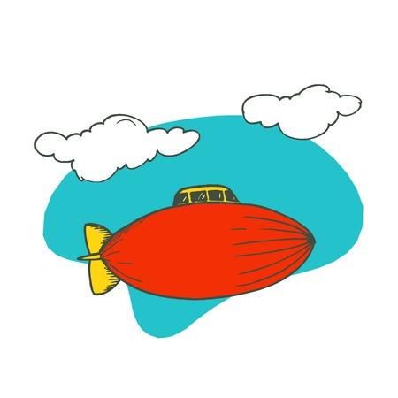 Illustration pour blimp airplane cartoon. Vector Illustration design. - image libre de droit