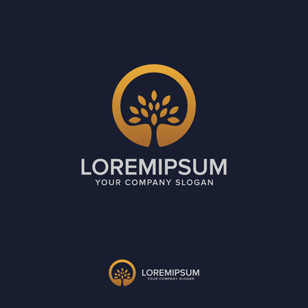 Illustration for tree luxury logo design concept template - Royalty Free Image